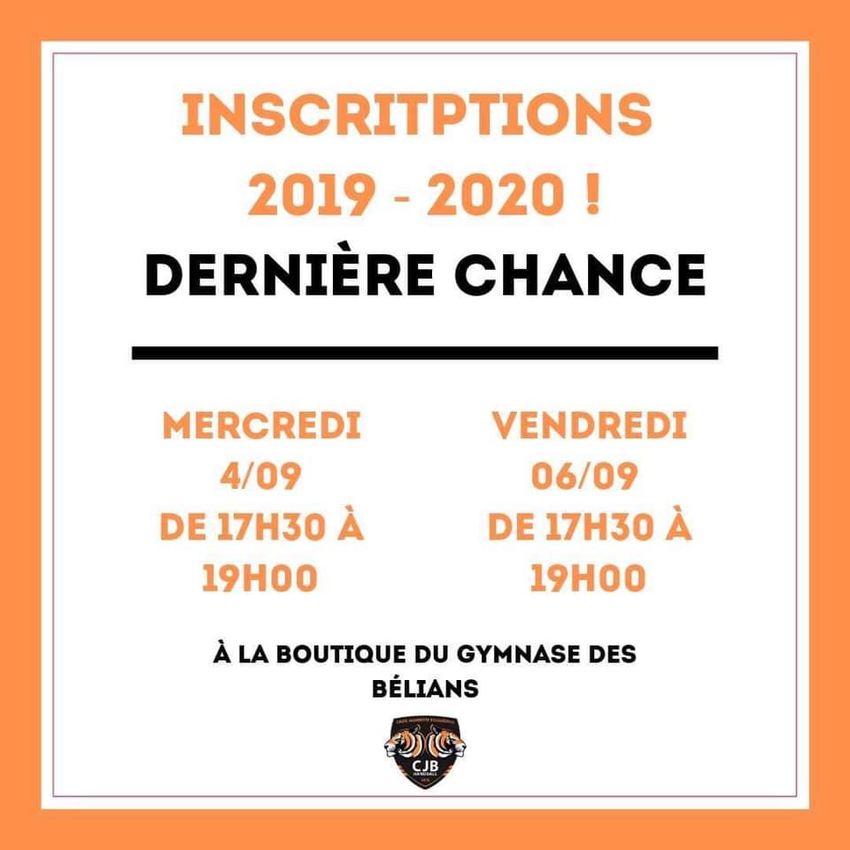 Inscriptions 2019-2020 : Dernières Dates
